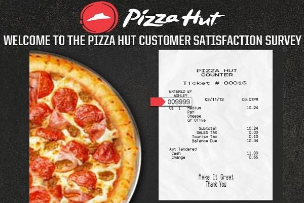 Pizza Hut survey www.tellpizzahut.com Win $1000